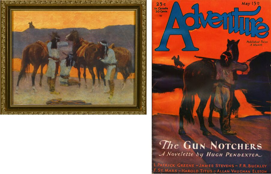 Shadows at the waterhole (1907) by Frederic Remington vs. Adventure May 15, 1931 by L.F. Wilford